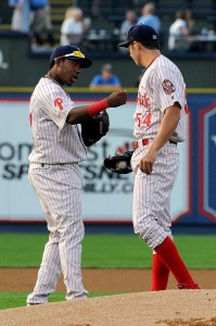 Franco pumping up his pitcher before the game. (Source: Reading Fightin Phils)
