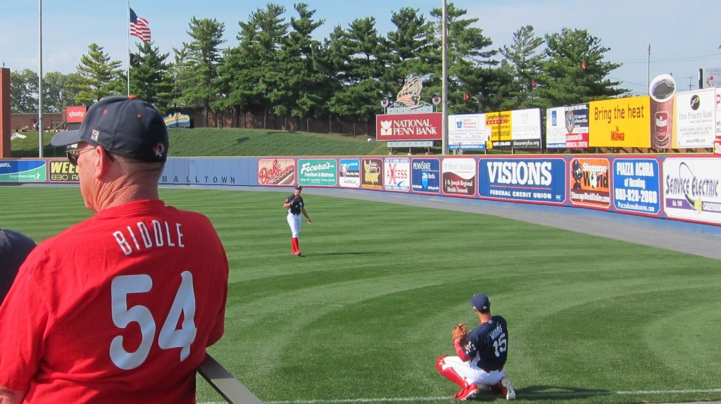 Warming up as always in far right field.